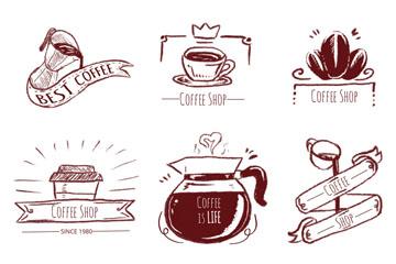 6款手绘咖啡徽章和标签矢量图