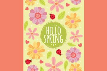 彩色花卉你好春季贺卡矢量素材