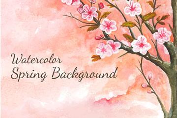 水彩绘春季粉色樱花树矢量图