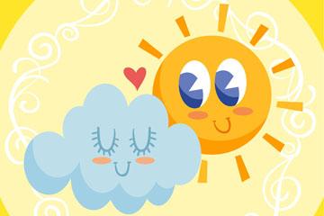 可爱云朵和太阳设计矢量图