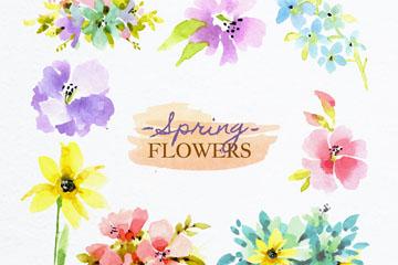 8款水彩绘春季花卉矢量素材