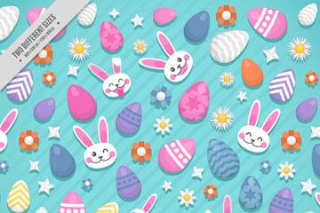 可爱兔子头像和彩蛋无缝背景矢量