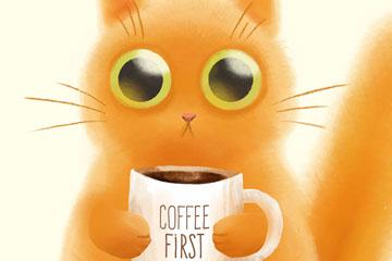 可爱抱咖啡的猫矢量素材