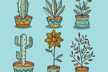 6款彩绘盆栽设计矢量素材