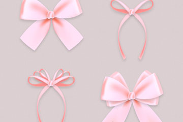 4款粉色丝带蝴蝶结矢量素材