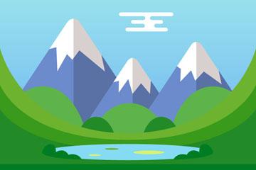 创意山中湖泊风景矢量素材