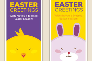 2款可爱鸡和兔子复活节祝福卡矢