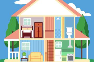创意双层住宅内部图矢量素材