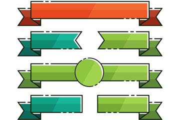 7款彩色虚线边条幅矢量素材
