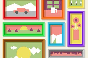 创意彩色风景照片墙矢量素材