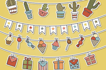 4款彩绘生日派对挂旗矢量素材