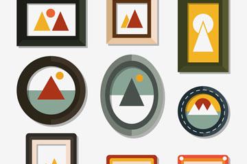 9款彩色空白相框设计矢量图