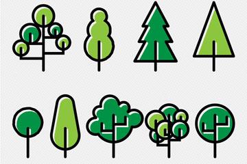 9款手绘绿色树木矢量素材