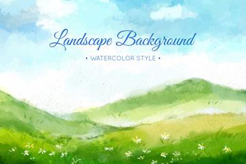 水彩绘绿色草地和山风景矢量图