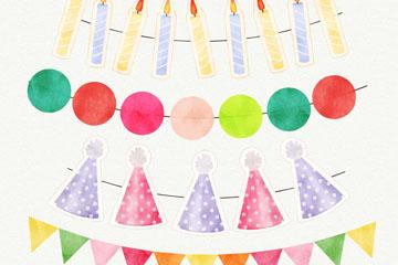 4款水彩绘生日派对挂旗矢量素材