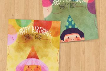 2款水彩绘可爱儿童生日贺卡矢量