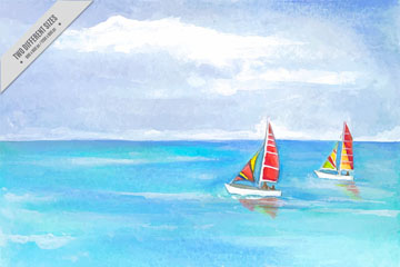 彩绘大海上的帆船风景矢量图