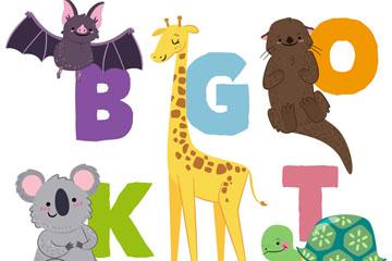 5款彩绘动物和首写字母矢量图