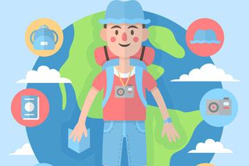 扁平化背包旅行男子和地球乐虎国际线上娱乐图