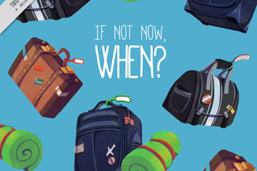 彩色行李箱和旅行包无缝背景矢量