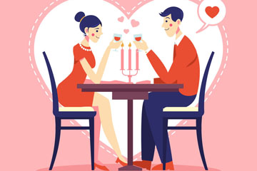 创意情人节餐厅里的情侣矢量图