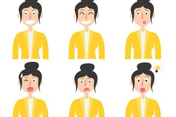 6款创意丸子头商务女子矢量图