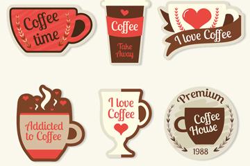 6款彩色咖啡徽章矢量素材