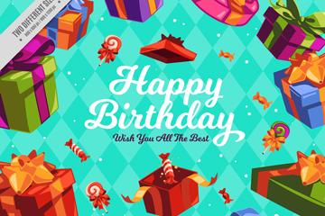 彩色生日礼盒祝福卡矢量素材
