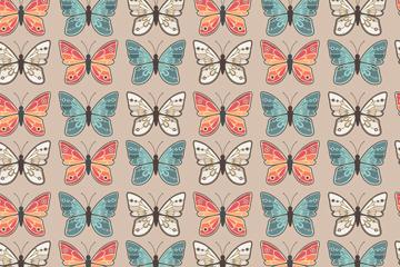 复古彩色蝴蝶无缝背景乐虎国际线上娱乐图