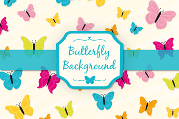 创意彩色蝴蝶无缝背景矢量图