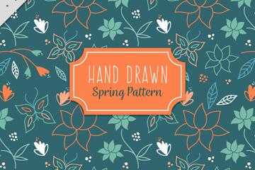 手绘春季蝴蝶和花卉无缝背景乐虎国际线上娱乐