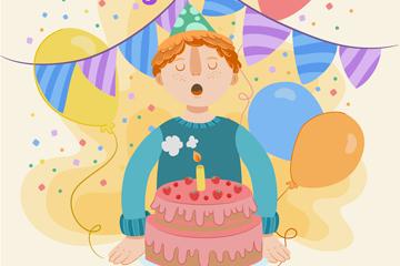 彩绘过生日吹蜡烛的男孩矢量素材