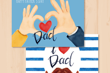 2款可爱父亲节祝福卡矢量素材