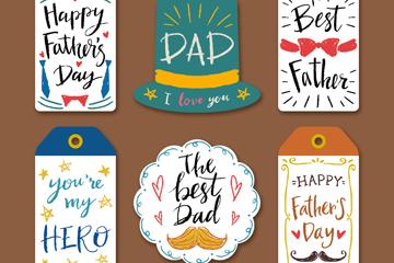 6款彩绘父亲节吊牌矢量素材