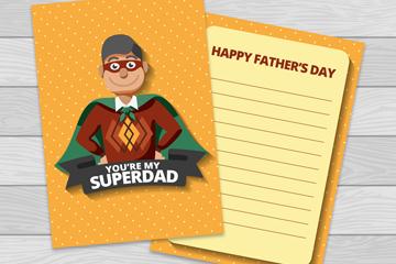 创意超人父亲祝福卡矢量素材