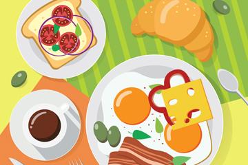 创意健康早餐桌矢量素材
