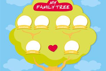 绿色空白头像家族树矢量图