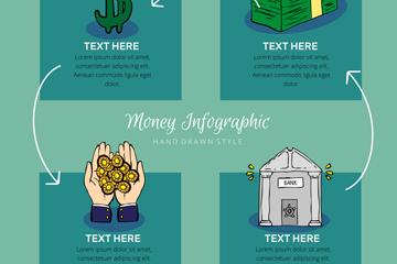 彩绘金融元素信息图矢量素材