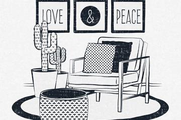 手绘时尚客厅设计矢量素材