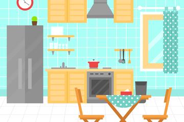 扁平化彩色厨房设计矢量素材