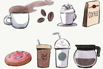 8款彩绘咖啡店元素矢量素材
