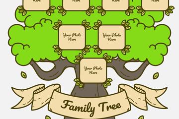 创意彩绘绿色家族树矢量素材