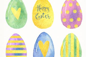 6款水彩绘彩蛋矢量素材