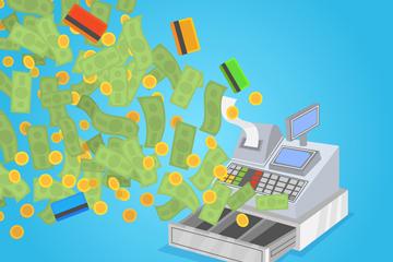 创意飞向收银机的钱币矢量素材