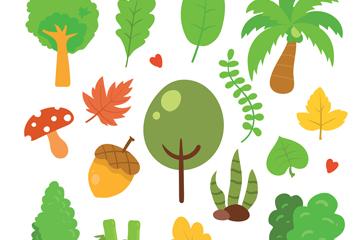 17款创意绿树和叶子矢量素材