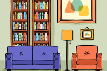 彩绘书房客厅设计矢量素材