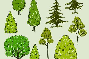 10款手绘绿色树木矢量素材