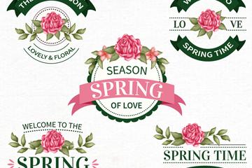 5款复古春季花卉徽章矢量素材