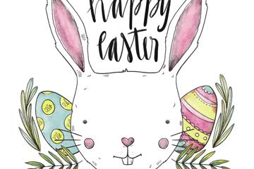 彩绘复活节白兔和彩蛋矢量图