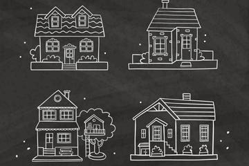 4款手绘私人住宅矢量素材